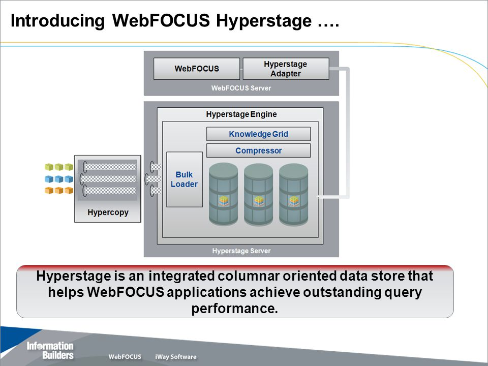 Hyperstage is an integrated columnar oriented data store that helps WebFOCUS applications achieve outstanding query performance.