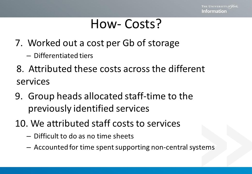 How- Costs. 7. Worked out a cost per Gb of storage – Differentiated tiers 8.