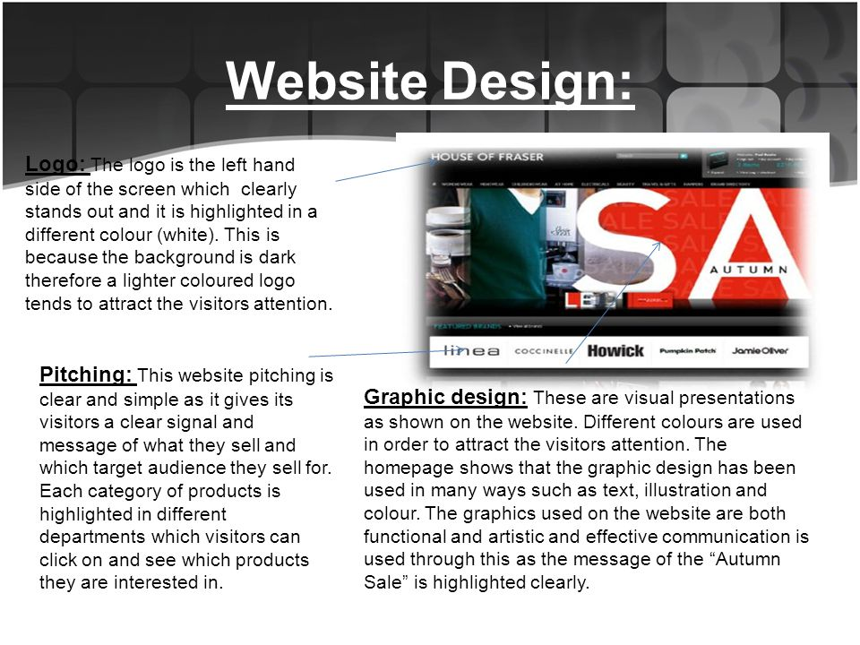 Website Design: Graphic design: These are visual presentations as shown on the website.