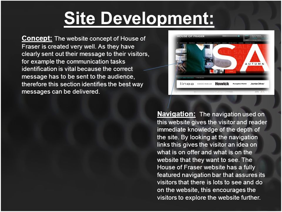First impression of the website : what does the website provide.