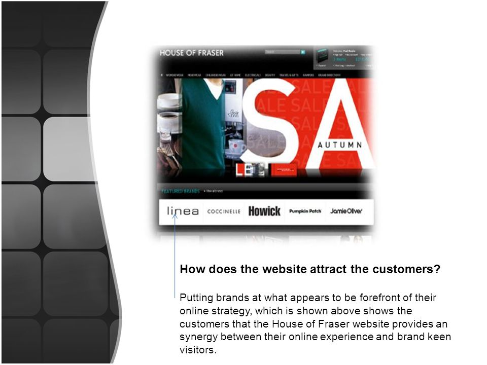 Homepage: The visual, flash driven main promotion, as shown above is used to promote the current latest offers or trends.