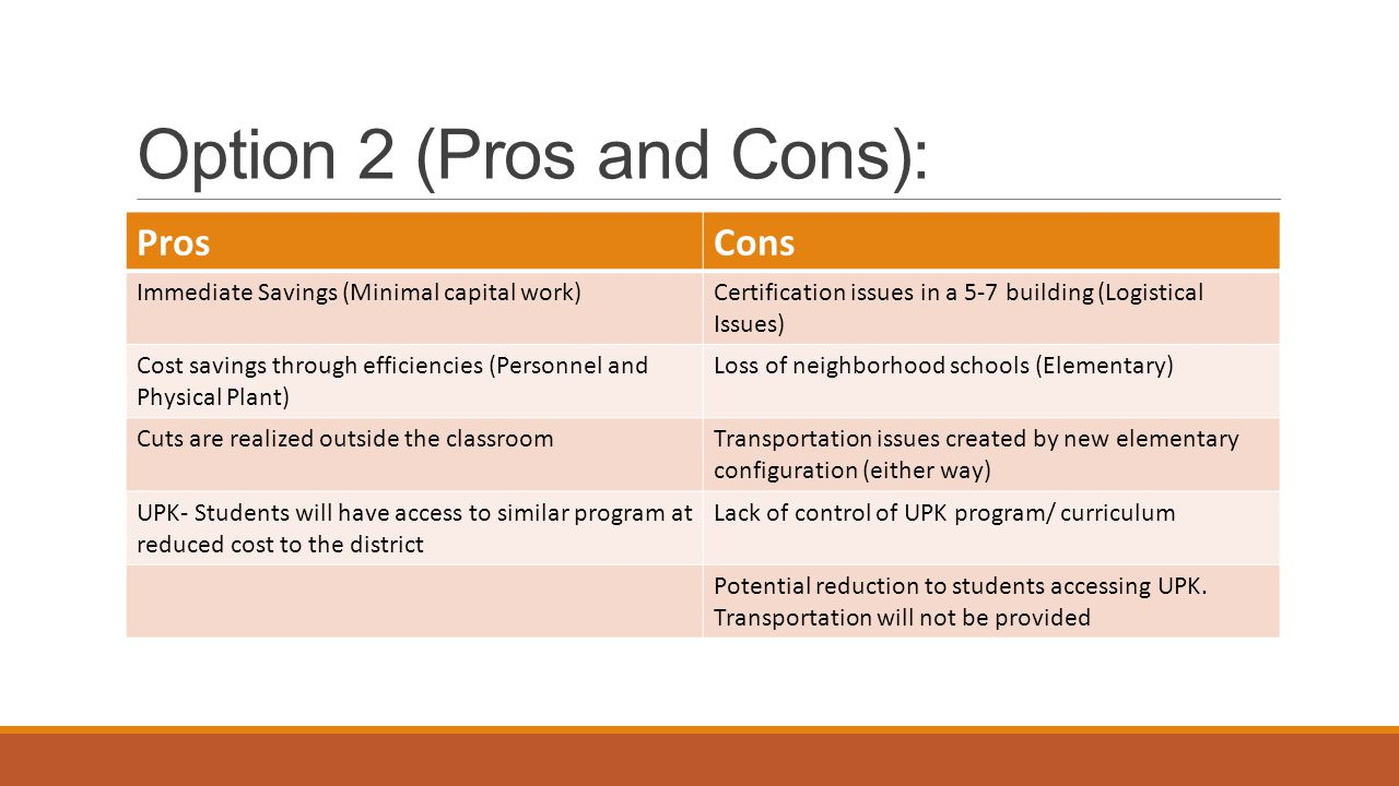 Option 3: Phase I o Capital projects at two sites.