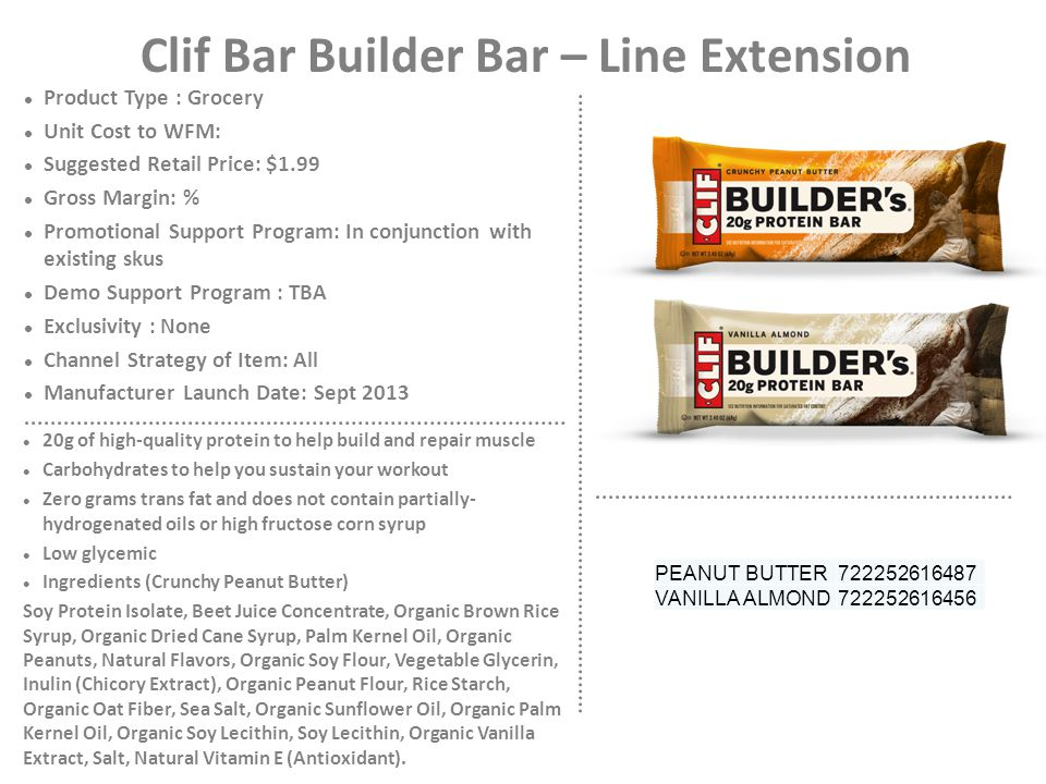 Clif Bar Builder Bar – Line Extension Product Type : Grocery Unit Cost to WFM: Suggested Retail Price: $1.99 Gross Margin: % Promotional Support Progr