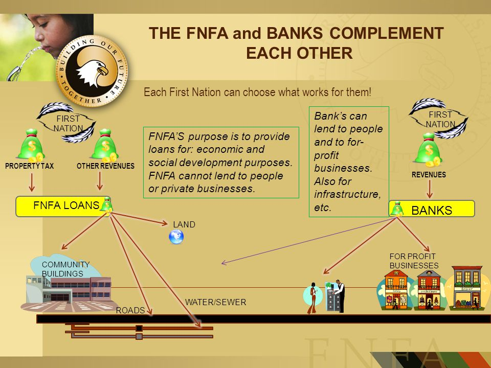 PROPERTY TAXOTHER REVENUES FNFA LOANS REVENUES BANKS FOR PROFIT BUSINESSES LAND COMMUNITY BUILDINGS ROADS WATER/SEWER FIRST NATION THE FNFA and BANKS COMPLEMENT EACH OTHER FNFA'S purpose is to provide loans for: economic and social development purposes.
