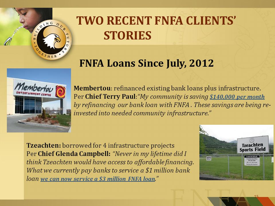 15 TWO RECENT FNFA CLIENTS' STORIES FNFA Loans Since July, 2012 Membertou: refinanced existing bank loans plus infrastructure.