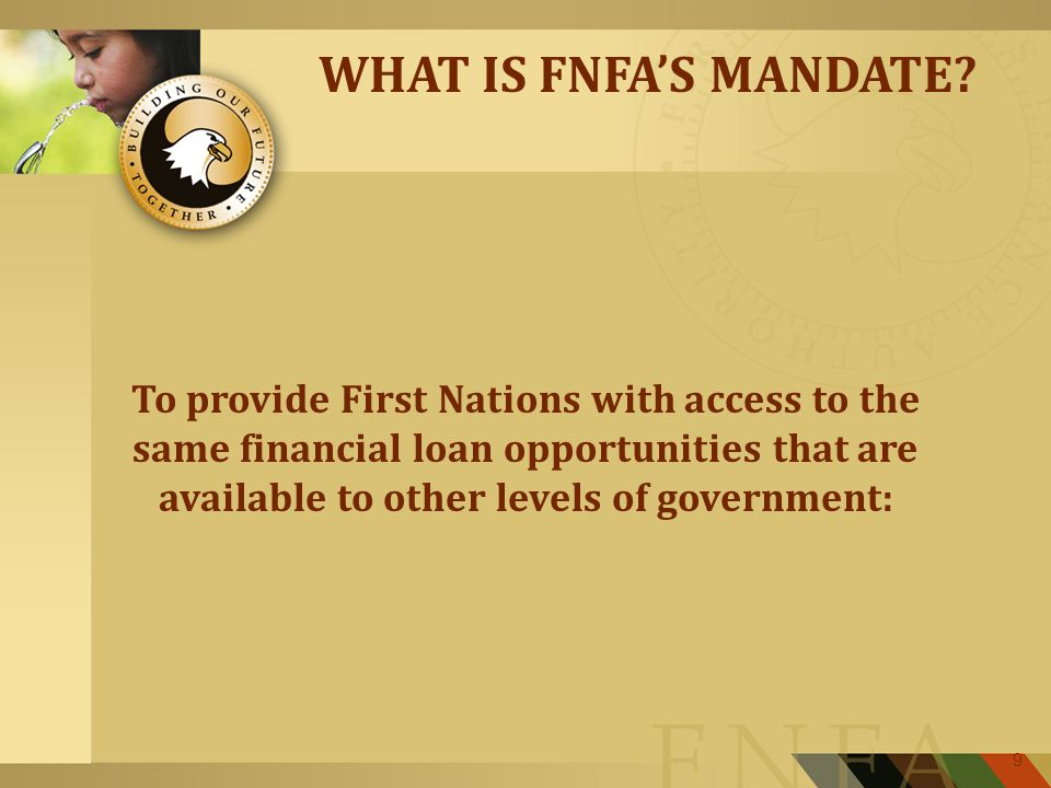 9 WHAT IS FNFA'S MANDATE.