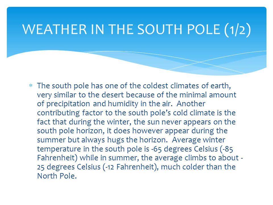 WEATHER IN THE SOUTH POLE (2/2)