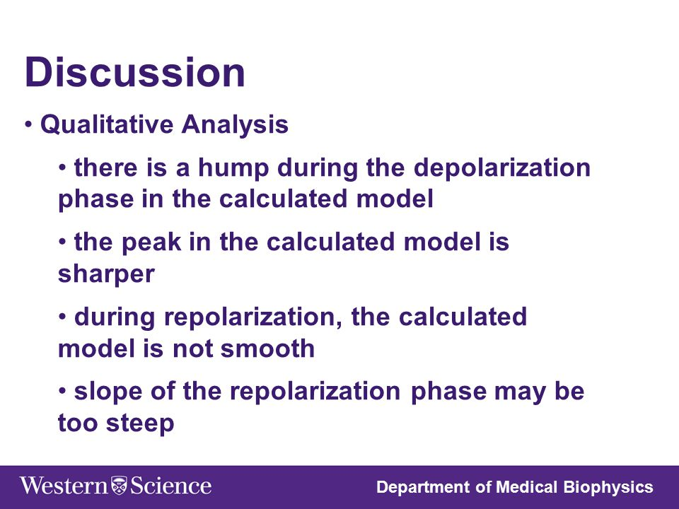 Discussion Qualitative Analysis there is a hump during the depolarization phase in the calculated model the peak in the calculated model is sharper du
