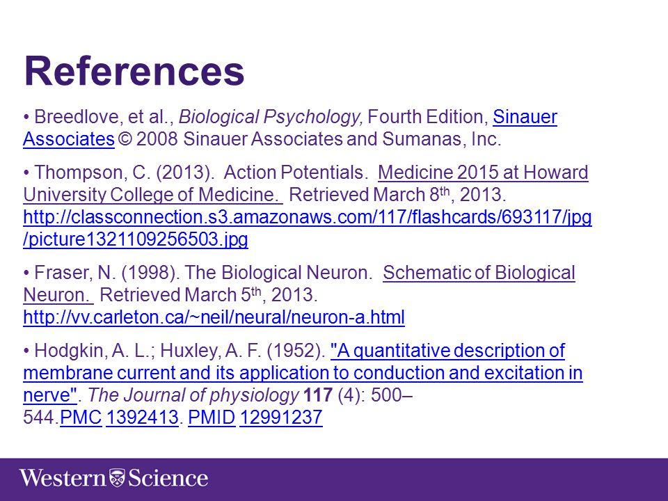 References Breedlove, et al., Biological Psychology, Fourth Edition, Sinauer Associates © 2008 Sinauer Associates and Sumanas, Inc.Sinauer Associates