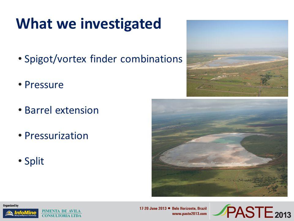 What we investigated Spigot/vortex finder combinations Pressure Barrel extension Pressurization Split