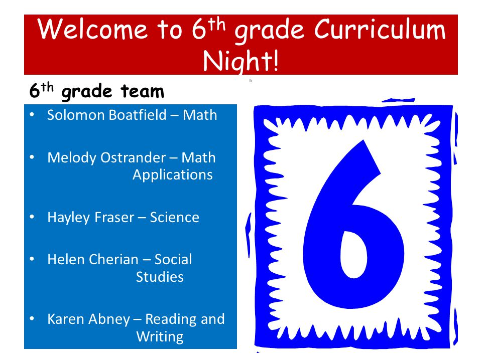 Welcome to 6 th grade Curriculum Night! 6 th grade team Solomon Boatfield – Math Melody Ostrander – Math Applications Hayley Fraser – Science Helen Ch