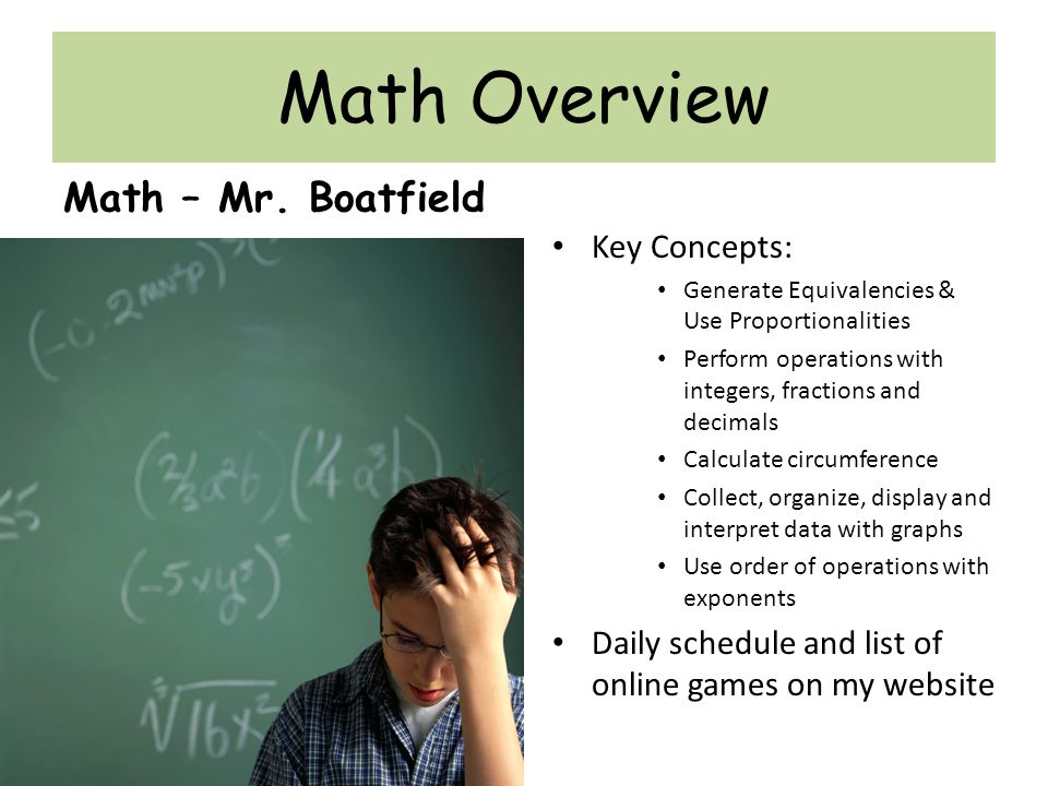 Math Overview Math – Mr.