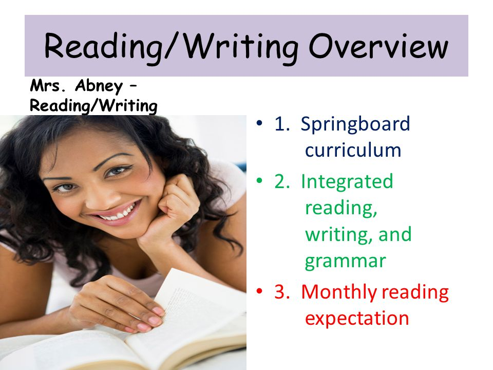 Reading/Writing Overview Mrs. Abney – Reading/Writing 1.