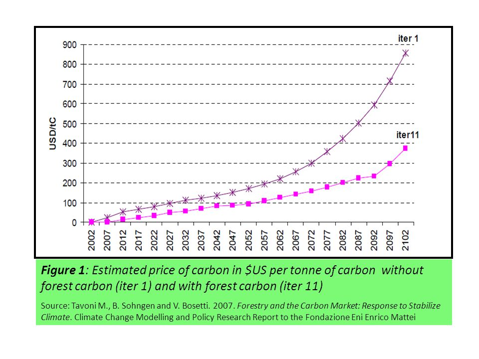 Figure 1: Estimated price of carbon in $US per tonne of carbon without forest carbon (iter 1) and with forest carbon (iter 11) Source: Tavoni M., B.