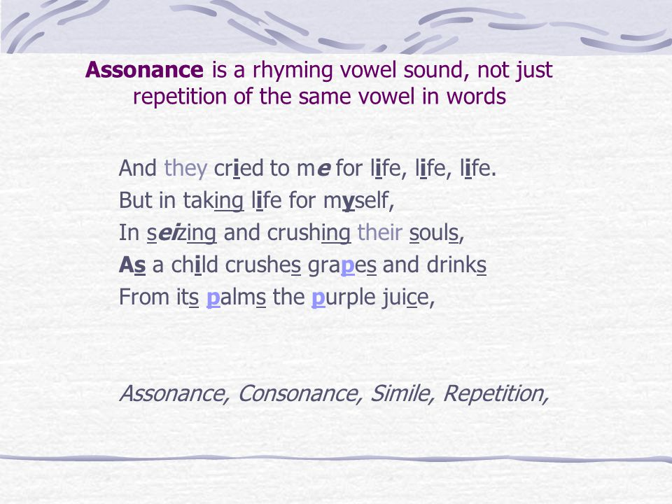 Where are the examples of Assonance.