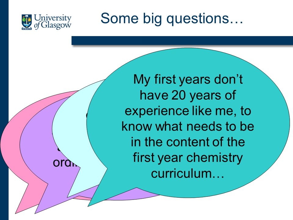 Some big questions… We have a professional body that constrains what we can do with our curriculum… I only teach these students for two weeks and the