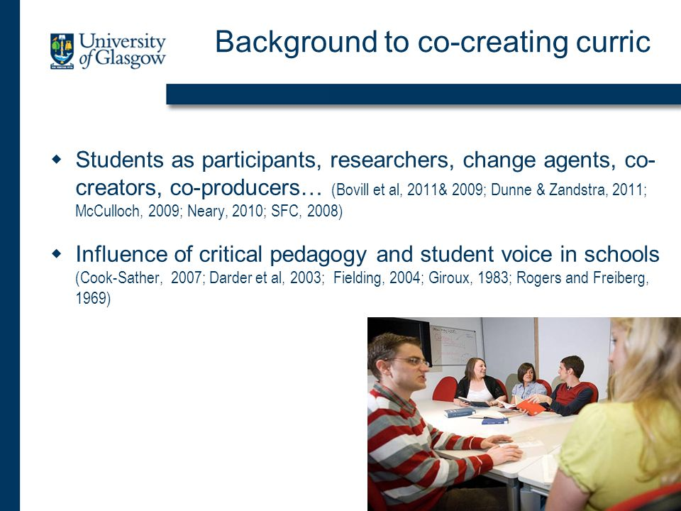 Background to co-creating curric  Students as participants, researchers, change agents, co- creators, co-producers… (Bovill et al, 2011& 2009; Dunne