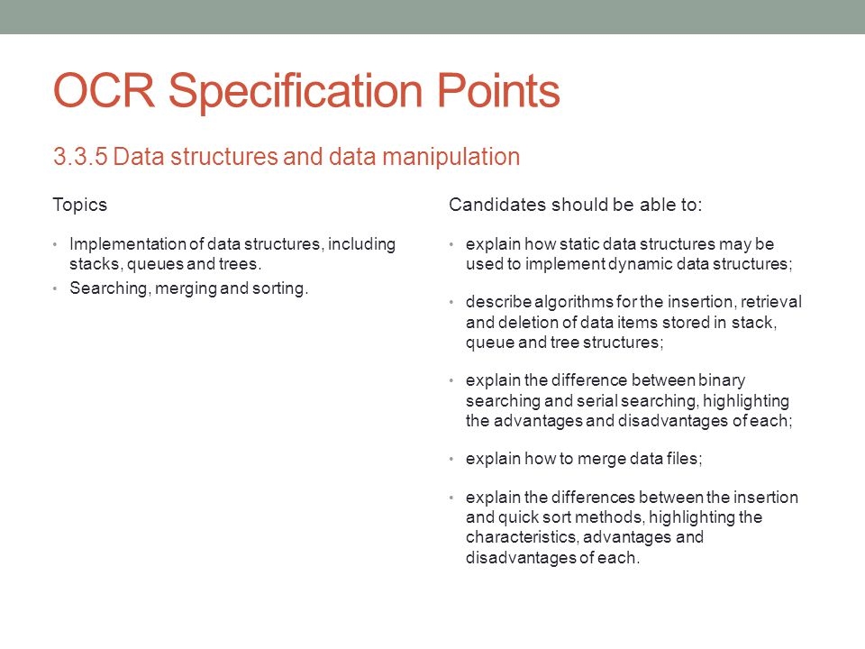 Static and Dynamic Data Structures Comparison Static Data structure whose size is fixed when it is created in memory.