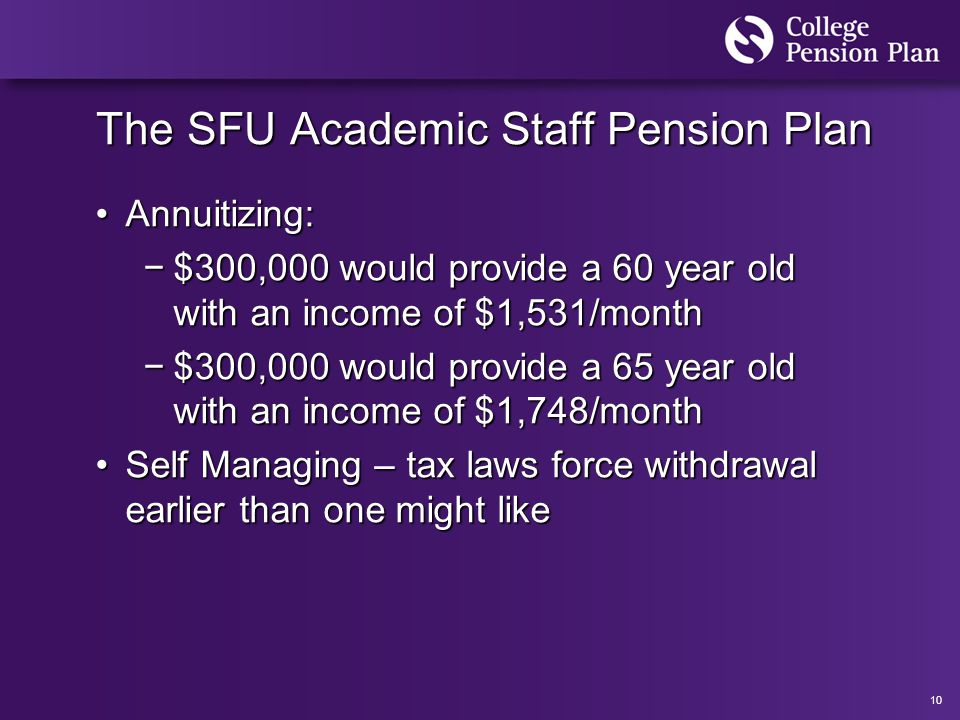 10 The SFU Academic Staff Pension Plan Annuitizing:Annuitizing: −$300,000 would provide a 60 year old with an income of $1,531/month −$300,000 would provide a 65 year old with an income of $1,748/month Self Managing – tax laws force withdrawal earlier than one might likeSelf Managing – tax laws force withdrawal earlier than one might like