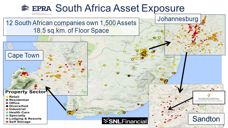 Author: 13 12 South African companies own 1,500 Assets 18.5 sq.km. of Floor Space South Africa Asset Exposure Cape Town Johannesburg Sandton