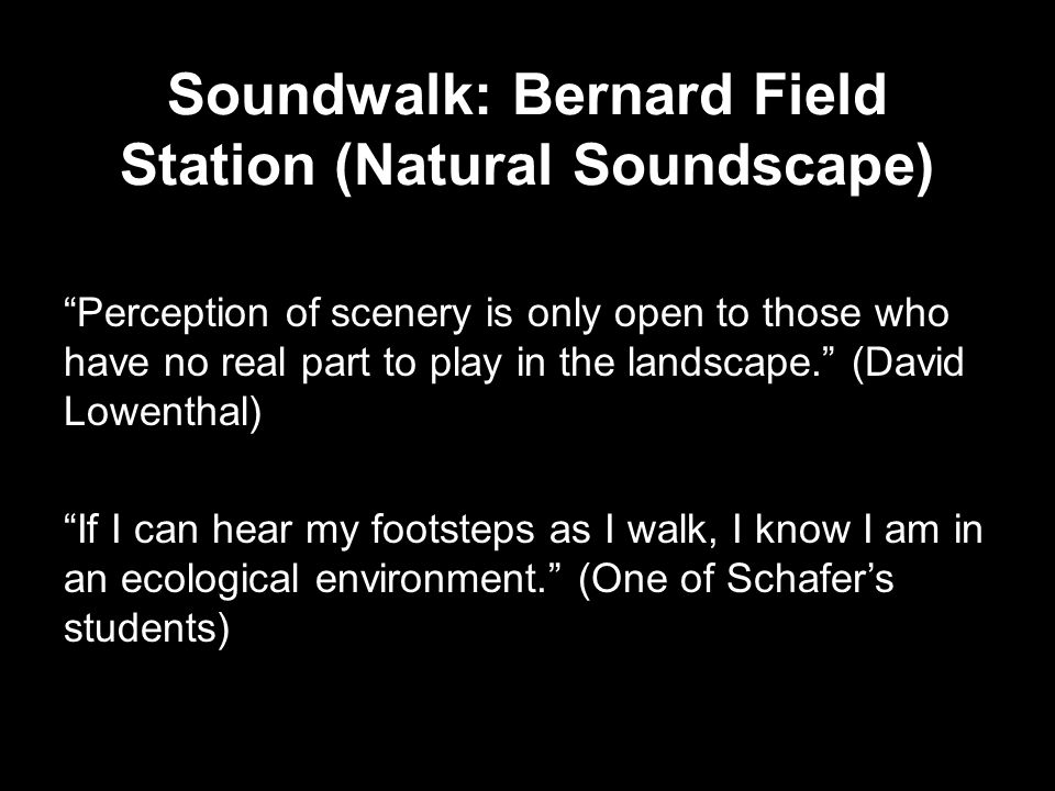 Soundwalk: Bernard Field Station (Natural Soundscape) Perception of scenery is only open to those who have no real part to play in the landscape. (David Lowenthal) If I can hear my footsteps as I walk, I know I am in an ecological environment. (One of Schafer's students)