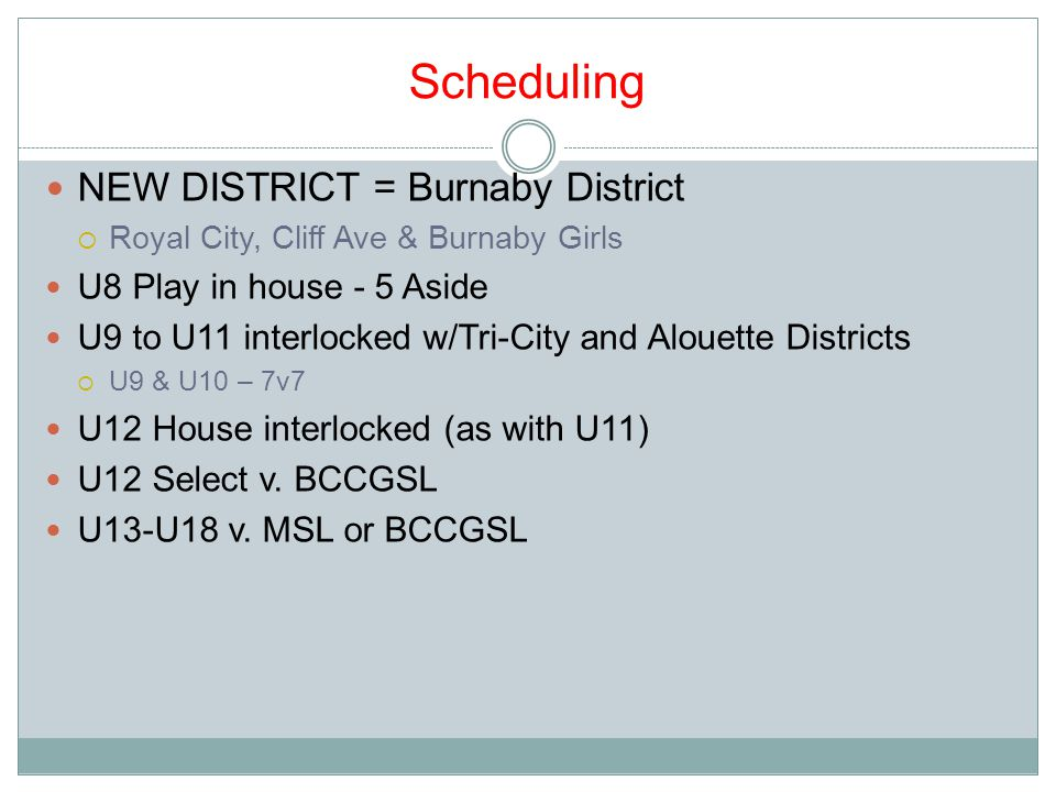 Scheduling NEW DISTRICT = Burnaby District  Royal City, Cliff Ave & Burnaby Girls U8 Play in house - 5 Aside U9 to U11 interlocked w/Tri-City and Alouette Districts  U9 & U10 – 7v7 U12 House interlocked (as with U11) U12 Select v.