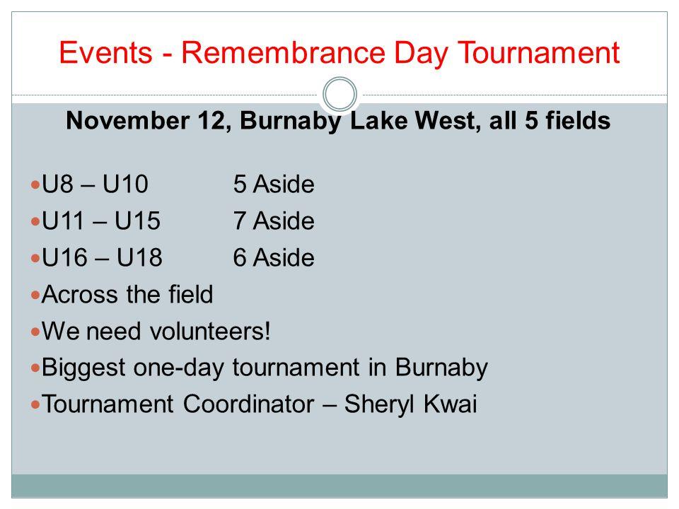 Events - Remembrance Day Tournament November 12, Burnaby Lake West, all 5 fields U8 – U105 Aside U11 – U157 Aside U16 – U186 Aside Across the field We need volunteers.