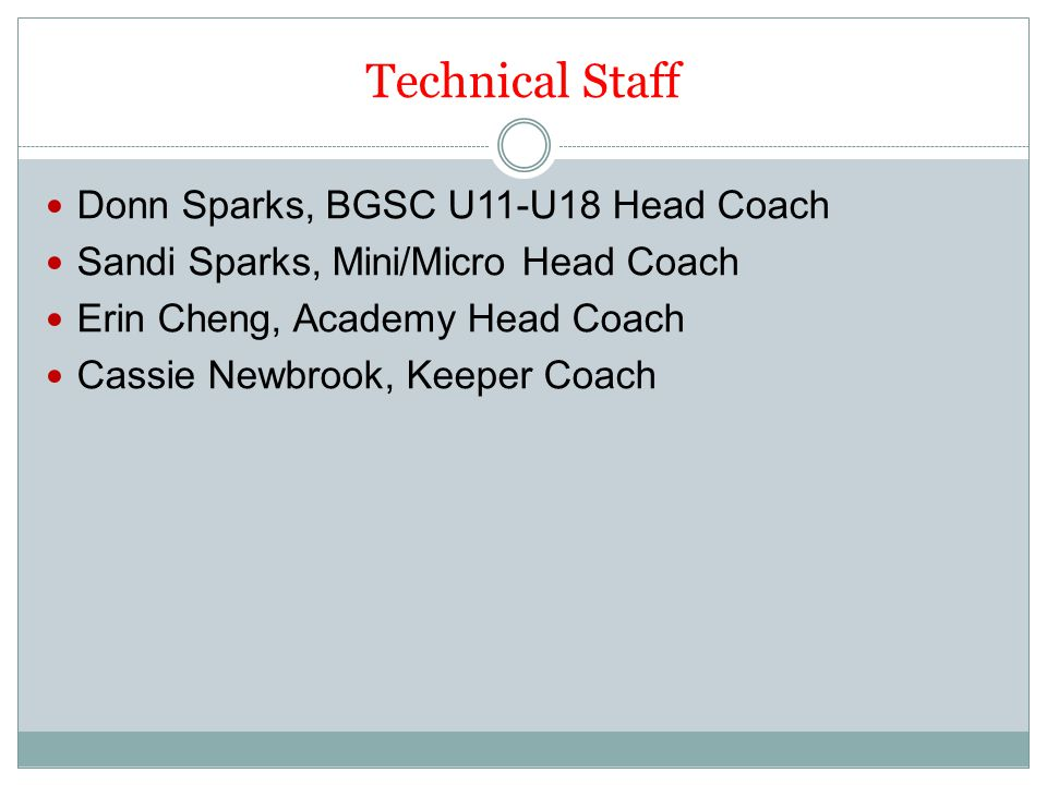 Technical Staff Donn Sparks, BGSC U11-U18 Head Coach Sandi Sparks, Mini/Micro Head Coach Erin Cheng, Academy Head Coach Cassie Newbrook, Keeper Coach