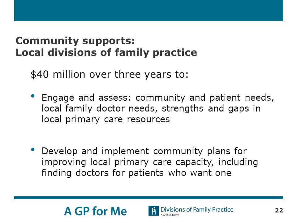 Community supports: Local divisions of family practice $40 million over three years to: Engage and assess: community and patient needs, local family doctor needs, strengths and gaps in local primary care resources Develop and implement community plans for improving local primary care capacity, including finding doctors for patients who want one 22