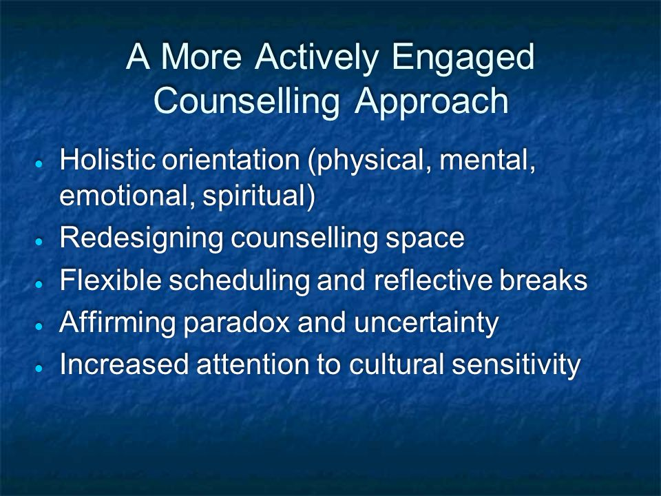 Current Counselling Practice  Problems are narrowly defined  Standard set periods of time for discussion  Over reliance on verbal counselling methods  Space is unimaginative and cramped  Social and cultural contexts are not considered  Problems are narrowly defined  Standard set periods of time for discussion  Over reliance on verbal counselling methods  Space is unimaginative and cramped  Social and cultural contexts are not considered