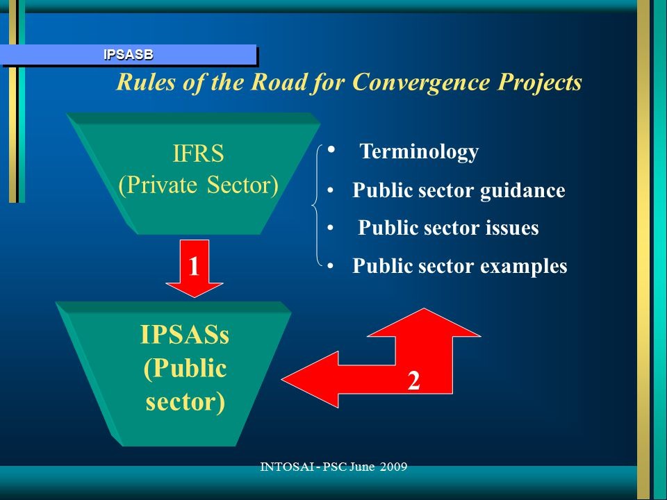 IPSASBIPSASB Rules of the Road for Convergence Projects IPSASs (Public sector) IFRS (Private Sector) Terminology Public sector guidance Public sector issues Public sector examples 1 2 INTOSAI - PSC June 2009