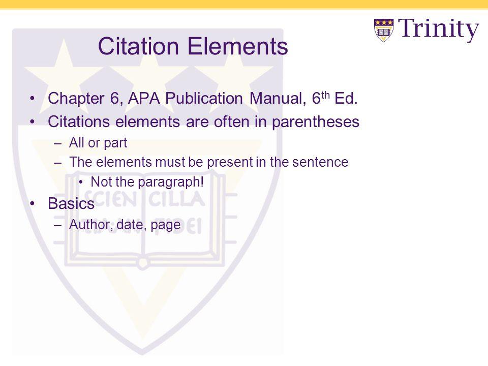 Citation Elements Chapter 6, APA Publication Manual, 6 th Ed.