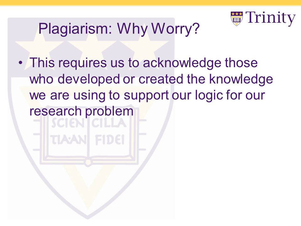 Plagiarism: Why Worry.
