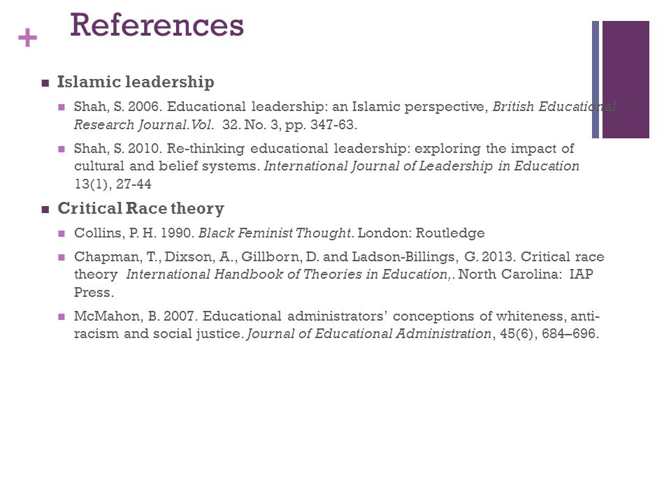 + References Islamic leadership Shah, S. 2006. Educational leadership: an Islamic perspective, British Educational Research Journal. Vol. 32. No. 3, p