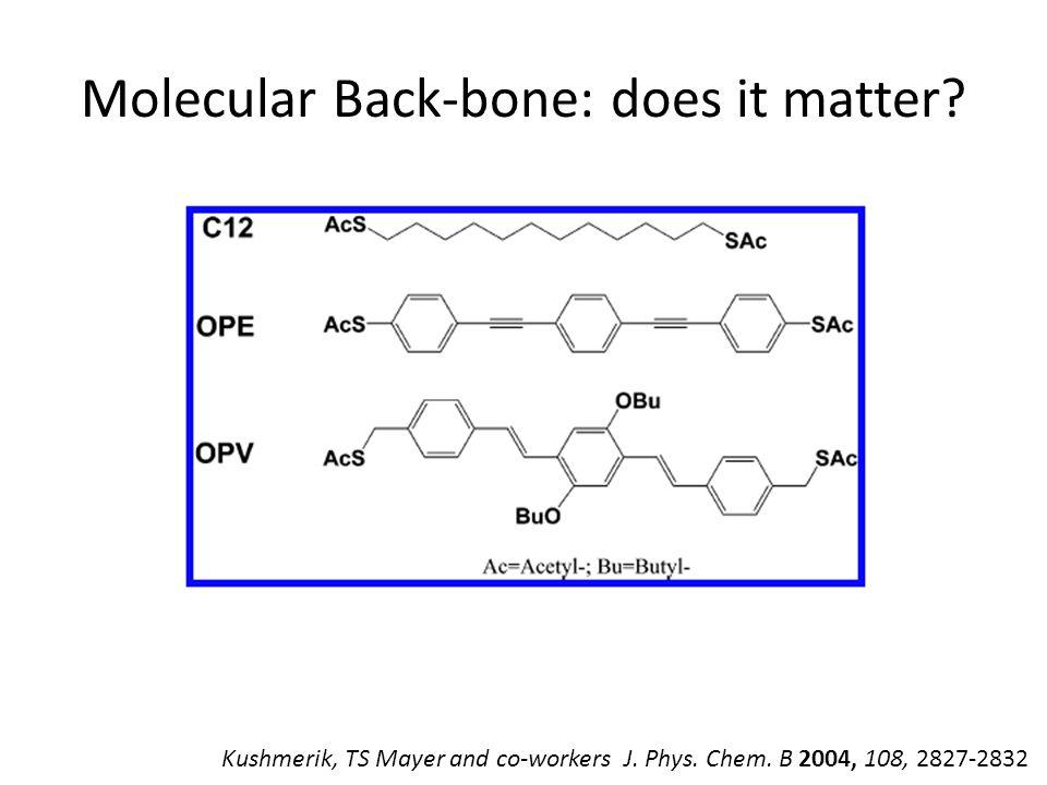 Molecular Back-bone: does it matter. Kushmerik, TS Mayer and co-workers J.