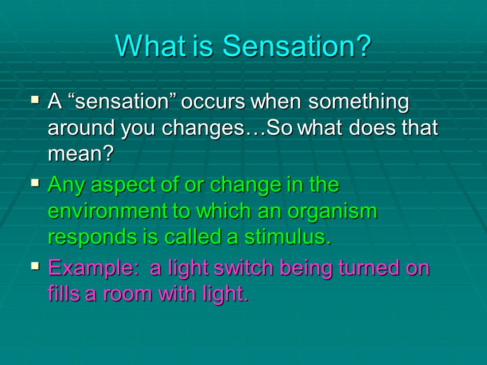 What is Sensation.  A sensation occurs when something around you changes…So what does that mean.