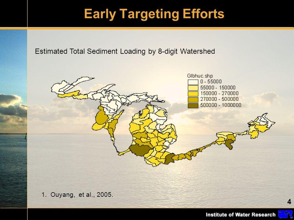 4 Early Targeting Efforts 1. Ouyang, et al., 2005. Estimated Total Sediment Loading by 8-digit Watershed