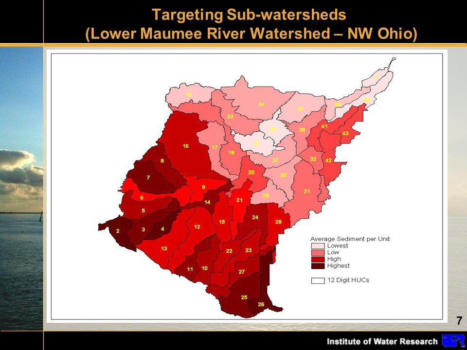 8 WatershedAcresTillage Total Sediment (tons) Reduction (tons) Percent Change Garret18,065 current practice 1,59100% Garret no till on worst 5% 1,32226917% Garret no till on worst 10% 1,22336823% Wolf17,440 current practice 2860 Wolf no till on worst 5% 21669 Wolf no till on worst 10% 20284 Applying BMP (no-till) on highest risk acres in contrasting watersheds