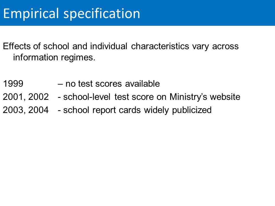 Empirical specification Effects of school and individual characteristics vary across information regimes.