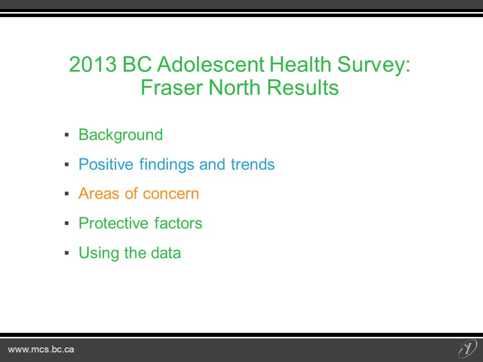 www.mcs.bc.ca Concussions ▪14% of youth experienced a concussion in past year