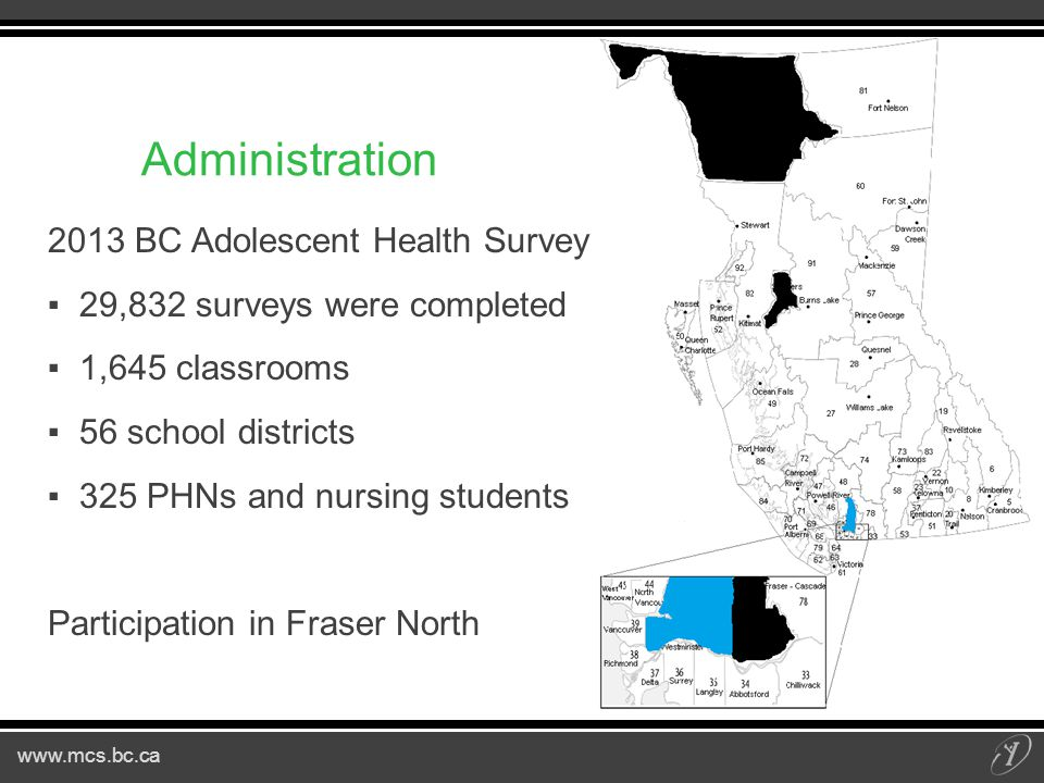www.mcs.bc.ca Administration 2013 BC Adolescent Health Survey ▪29,832 surveys were completed ▪1,645 classrooms ▪56 school districts ▪325 PHNs and nursing students Participation in Fraser North