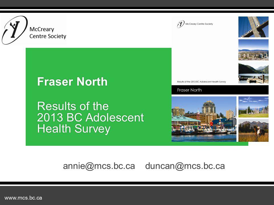 www.mcs.bc.ca annie@mcs.bc.caduncan@mcs.bc.ca Fraser North Results of the 2013 BC Adolescent Health Survey