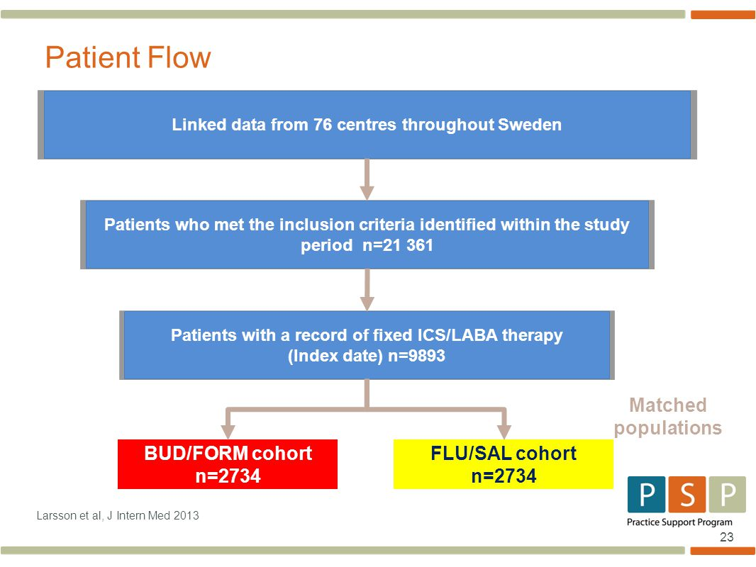 23 Larsson et al, J Intern Med 2013 Patient Flow Patients who met the inclusion criteria identified within the study period n=21 361 Patients with a record of fixed ICS/LABA therapy (Index date) n=9893 FLU/SAL cohort n=2734 BUD/FORM cohort n=2734 Linked data from 76 centres throughout Sweden Matched populations