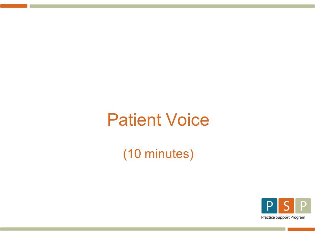 Patient Voice (10 minutes)