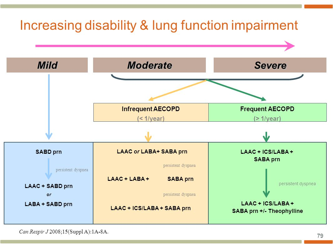 79 Increasing disability & lung function impairment Mild Infrequent AECOPD (< 1/year) Frequent AECOPD (> 1/year) LAAC + ICS/LABA + SABA prn SABD prn persistent dyspnea LAAC + SABD prn or LABA + SABD prn LAAC + ICS/LABA + SABA prn +/- Theophylline persistent dyspnea Moderate Severe LAAC or LABA+ SABA prn LAAC + LABA +SABA prn LAAC + ICS/LABA + SABA prn persistent dyspnea Can Respir J 2008;15(Suppl A):1A-8A.