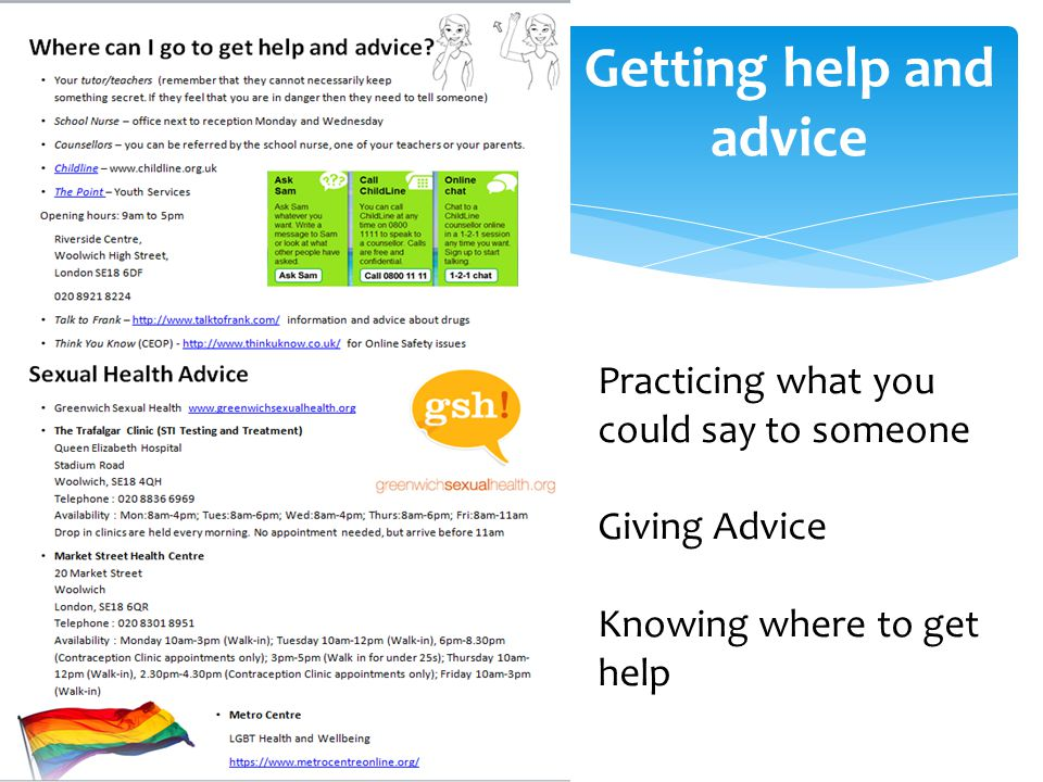 Getting help and advice Practicing what you could say to someone Giving Advice Knowing where to get help