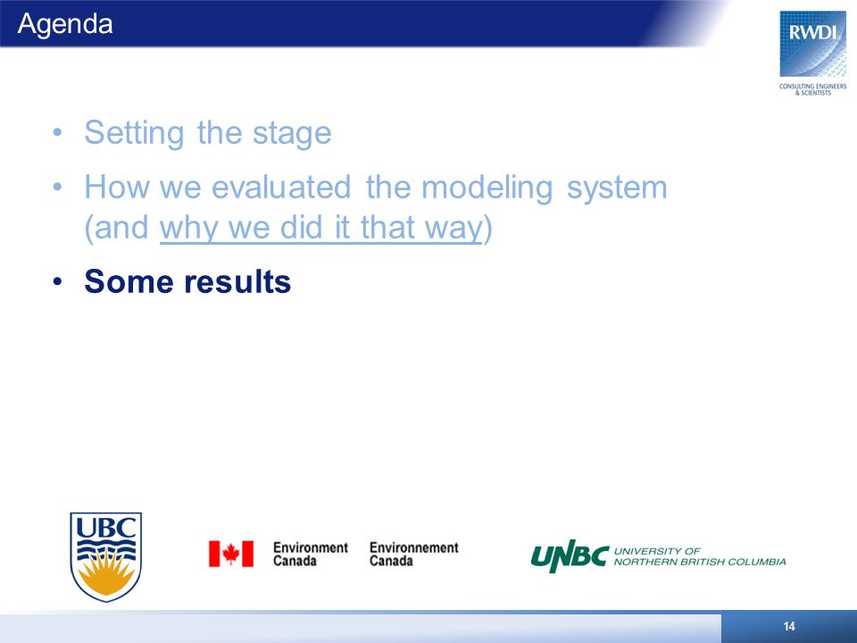 Agenda Setting the stage How we evaluated the modeling system (and why we did it that way) Some results 14