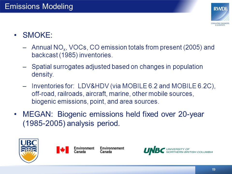 Emissions Modeling 19 SMOKE: –Annual NO x, VOCs, CO emission totals from present (2005) and backcast (1985) inventories. –Spatial surrogates adjusted