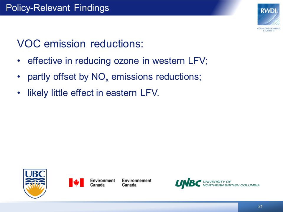 Policy-Relevant Findings VOC emission reductions: effective in reducing ozone in western LFV; partly offset by NO x emissions reductions; likely little effect in eastern LFV.