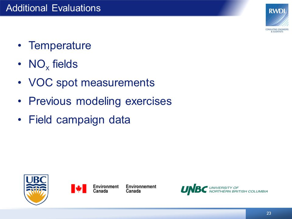 Additional Evaluations Temperature NO x fields VOC spot measurements Previous modeling exercises Field campaign data 23